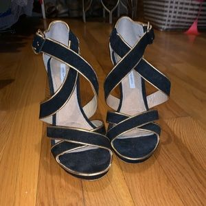 DVF Black and Gold Strappy Heels